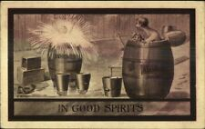 Children in Whiskey & Alcohol Barrels IN GOOD SPIRITS - Horina Comic Postcard