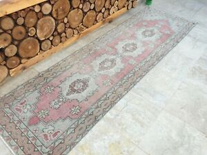 2'10''x9'9'' Antique Rug Carpet,Vintage Turkish Oushak Runner Rug,Hallway Rug