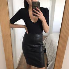 Stradivarius Faux Leather Black Pencil Knee Length Skirt Size 6 34