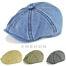 VOBOOM Men's Washing Gatsby Cap 8 Panel Newsboy Flat Hat Organic Cotton Anti-UV