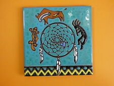 "Ceramic Art Tile 6""x6""  Dream Catcher Native Ameican Indian trivet wall  NEW I78"