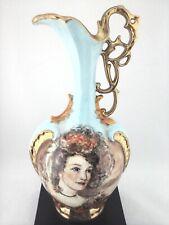 Vase Signed Hand Painted VTG Victorian Portrait Sky Blue Gold Ornate Urn RARE