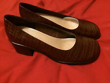 *NWT* CHADWICK'S Brown Leather Faux Crocodile Slip-On Heel Pumps Shoes - Size 7M