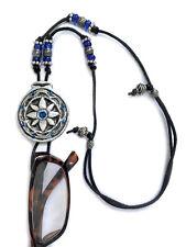 Handmade Eyeglasses Sunglasses Holder Adjustable necklace Silver and Blue Flower