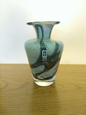 Mdina vase in stone colour and brown . Label and signed