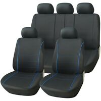 Sport Black with Blue Piping Deluxe Luxury Full Car Set Seat Cover Protectors