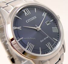 CITIZEN MEN ECO DRIVE STAINLESS STEEL BLUE FACE DATE AW1231-58L cg