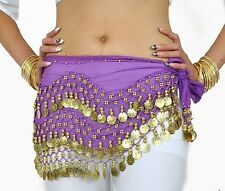 Women 3 Rows 98 Gold Coins Purple Chiffon Belly Dancer Costume Hip Scarf Wrap