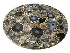 "36"" Black Agate Round Center Dining Table Top Precious Stone Kitchen Decor A015C"