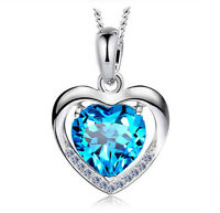 925 Sterling Silver Pendent Blue Heart Crystal Wedding Bridal Necklace N123