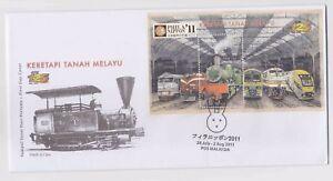 Malaysia 2010 FDC Trains Railway KTM 125  2011 overprint MS Phila Nippon Japan