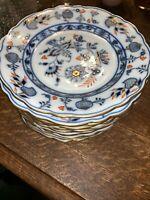 "Antique 19th C Meissen Rich Blue Onion SALAD PLATE, 7 1/2"" Wide 8 Available"