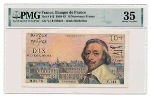 FRANCE banknote 10 Nouveaux Francs 1.12.1960. PMG VF 35 Choice Very Fine