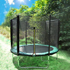 10ft 6 Poles Trampoline Set With Safety Net Enclosure Rain Cover Shoe Bag