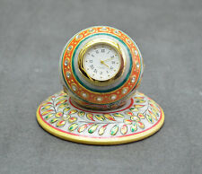 """2.5"""" White Marble Hakik Hand carved & Painted Watch Floral Arts Patio Gifts H689"""