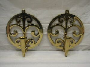 Pr Virginia Metalcrafters Brass Candlestick Holder Wall Sconces Candle Stick
