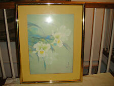 Superb David Lee Lithograph Or Print-Signed & Stamped-Framed-White Floral Art