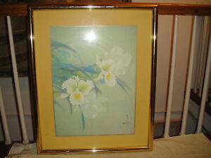 David Lee Lithograph Print Signed Stamped Framed White Floral Art
