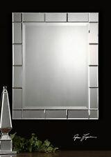 "Timeless 33"" Contemporary Rectangular Beveled Wall Vanity Mirror Makura"