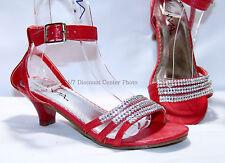 Girls Strappy Rhinestones Heels Pageant Youth Sz 9--4, Wedding Shoes, Dressy