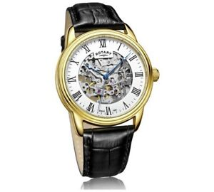 Rotary GS03036/01 Men's Skeleton Strap Automatic Mechanical Watch RRP£159 BOXED
