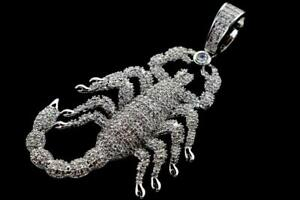 14K White Gold Plated Hip Hop Micro Pave ICE CZ Scorpion Pendant with Rope Chain