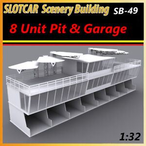 Slotcar Scenery Building 8 Unit Pit & Garage with Control Center for scalextric