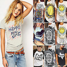 Plus Size Womens Letter Blouse T-Shirt Short Sleeve Casual Loose Tops Summer Tee