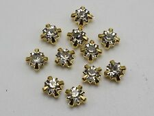 200 Golden Clear Crystal Glass Rose Montees 5mm SS18 Sew on Rhinestones Beads