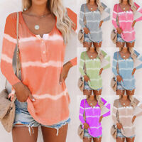 Womens Striped Long Sleeve Tops Sweatshirt Ladies Casual T Shirt Blouse Pullover