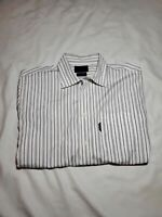 Faconnable Trend Stripe Button up dress Shirt size XL white blue brown yellow