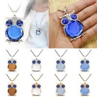 Fashion Jewelry Owl Crystal Pendant Necklace Long Sweater Chain Party