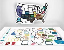 RV Trailer Camper Modern USA Map Sticker 50 Removable USA States Map Peel Stick