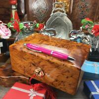 Memory wooden jewelry Gift box, handmade red velvet Lined burl wooden box