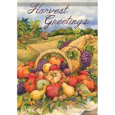Thanksgiving Harvest Greetings Pumpkin Cornucopia Double Sided Garden Flag
