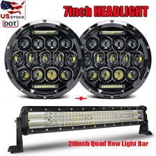 E-mark 7'' LED Headlight + 12D 20inch Quad Row Light Bar 22'' For Jeep Wrangler