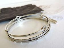 Coach Pave Crystal Silver Bangle Bracelet Set of 3 NWT