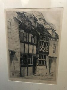 """RYE SUSSEX- """"Thomas House 1902"""" - Original Etching Print Signed Dated Framed"""