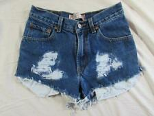 "Womens 28"" Zipper Fly Levi Cut Off Denim Shorts Daisy Duke Jeans Distressed"