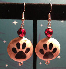 Valentine Dog Paw Print Earring SS Hooks Quartzite Option To Pick Color Crystal
