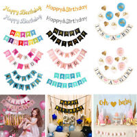 Baby Shower Gold Letter Happy Birthday Banner Flag Garland Birthday Party Decor
