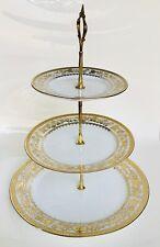 VintageHigh Quality Porcelain NM Design Japan Three Serving Plates Gold & white