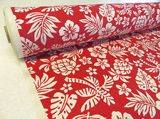 Red/Cream HAWAIIAN TROPICAL COTTON fabric tiki hibiscus pineapple palm tree 1m