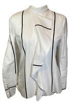 Derek Lam 10 Crosby Womens Long Sleeve White Blouse Top Ruffle Stripe Size 2