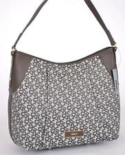 NEW DKNY DONNA KARAN KHAKI SAFFIANO T&C SIGNATURE ZIP PURSE HANDBAG HOBO