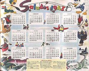 "DONALD DUCK 1943 ""SALUDOS"" DISNEY ART CALENDAR GOOFY JOSE CARIOCA PEDRO AIRPLANE"