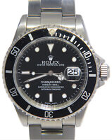 Rolex Submariner Date Steel Black Dial/Bezel Mens 40mm Watch K 16610