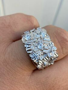 Mens REAL Solid 925 Sterling Silver Diamond Nugget Ring Men's Hip Hop Ring ICY
