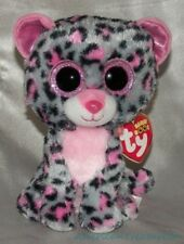 "NEW TY BEANIE BOOS Plush 6"" Gray & Pink TASHA The LEOPARD Kitty Cat Glitter Eyes"
