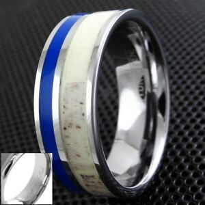 8mm Tungsten Men's Blue Stripe & Deer Antler Wedding Band Ring-Engraving Avail.